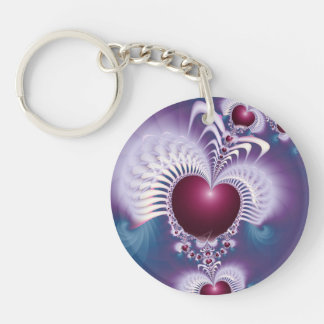 Fractal Love Hearts Round double-sided Key Chain Round Acrylic Keychains