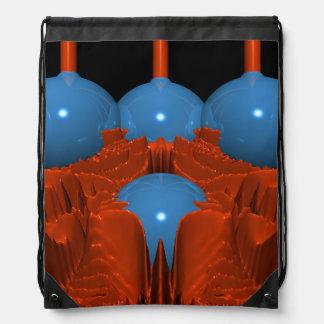 Fractal macro azul rojo mochila