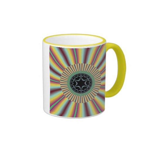 Fractal magenta del resplandor solar de la aguamar tazas de café