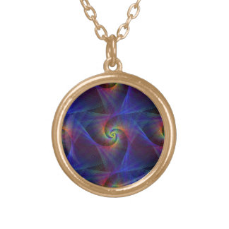 Fractal magic lights gold plated necklace