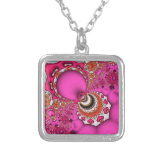 Fractal Majestic Patterns Silver Plated Necklace