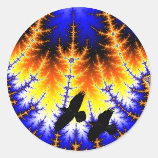 Fractal mandelbrot bosque Raben wood raven Pegatina Redonda