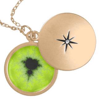 Fractal Mandelbrot Green Locket Necklace