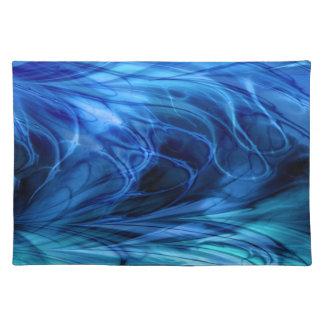 Fractal Marble Blue Cloth Place Mat