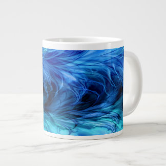 Fractal Marble Blue Large Coffee Mug