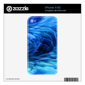 Fractal Marble Blue Skin For iPhone 4S