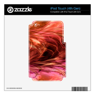 Fractal Marble Red Skins For iPod Touch 4G