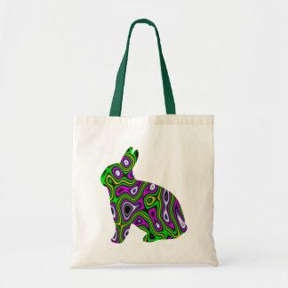 Fractal Maze Yellow Green Magenta Bunny Budget Tote Bag
