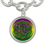 Fractal Maze Yellow Green Magenta Charm Bracelet