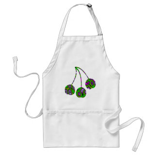 Fractal Maze Yellow Green Magenta Cherries Adult Apron