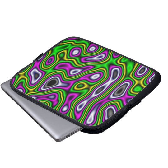 Fractal Maze Yellow Green Magenta Computer Sleeve