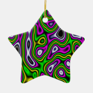 Fractal Maze Yellow Green Magenta Double-Sided Star Ceramic Christmas Ornament