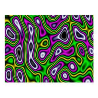 Fractal Maze Yellow Green Magenta Postcard