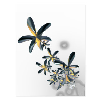 Fractal Metallic Flowers Postcard