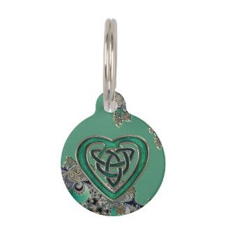 Fractal místico céltico verde identificador para mascotas