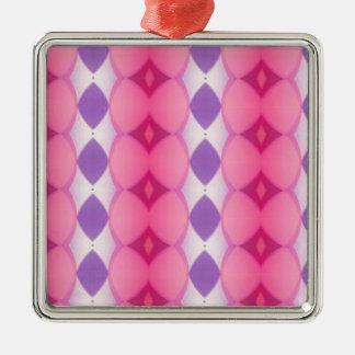 Fractal moderno púrpura rosado de las formas de adorno navideño cuadrado de metal