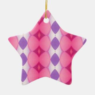 Fractal moderno púrpura rosado de las formas de adorno navideño de cerámica en forma de estrella