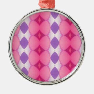 Fractal moderno púrpura rosado de las formas de adorno navideño redondo de metal