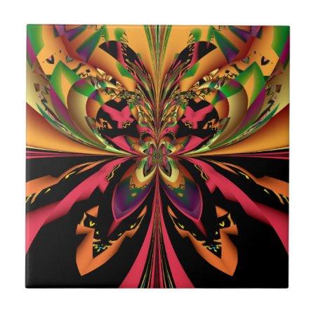 Fractal Motley Butterfly Ceramic Tile
