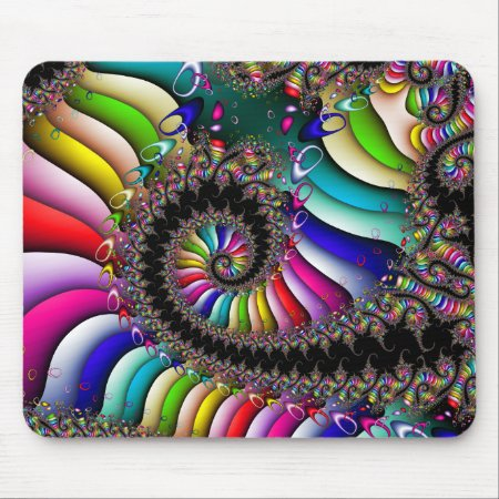 Fractal Multicolor Spiral Mouse Pad