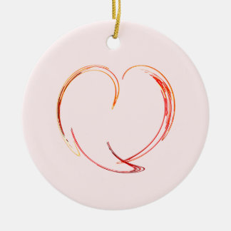 Fractal - My Heart Double-Sided Ceramic Round Christmas Ornament