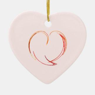 Fractal - My Heart Double-Sided Heart Ceramic Christmas Ornament