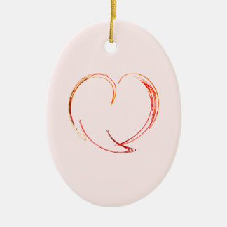 Fractal - My Heart Double-Sided Oval Ceramic Christmas Ornament