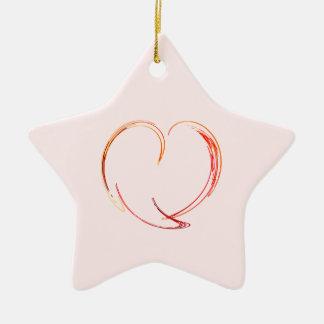 Fractal - My Heart Double-Sided Star Ceramic Christmas Ornament