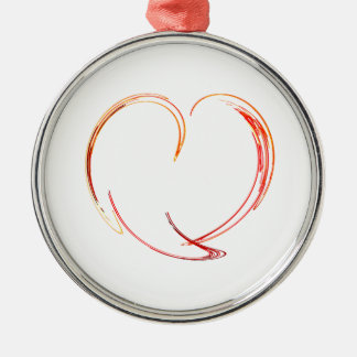 Fractal - My Heart Round Metal Christmas Ornament