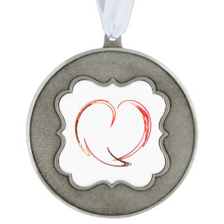 Fractal - My Heart Scalloped Pewter Christmas Ornament