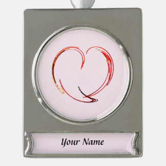 Fractal - My Heart Silver Plated Banner Ornament