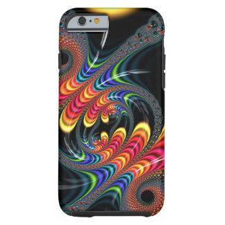 Fractal negro colorido del arco iris que tuerce en funda para iPhone 6 tough