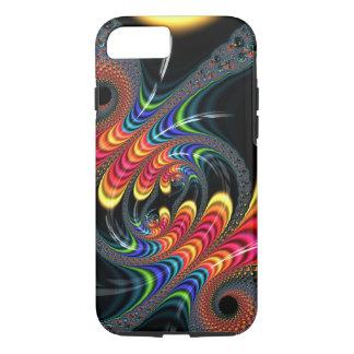 Fractal negro colorido del arco iris que tuerce en funda iPhone 7