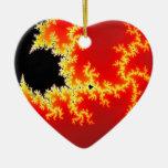 Fractal negro y anaranjado adorno de navidad