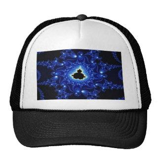 Fractal negro y azul de Mandelbrot Gorros Bordados