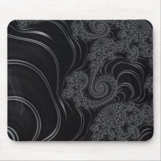 Fractal negro y gris elegante mousepad