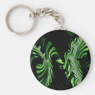 fractal negro y verde de la mariposa llavero redondo tipo pin
