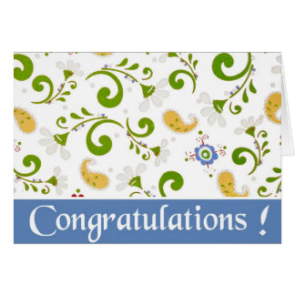 Fractal of Flowers Blue congratulations Greeting Card