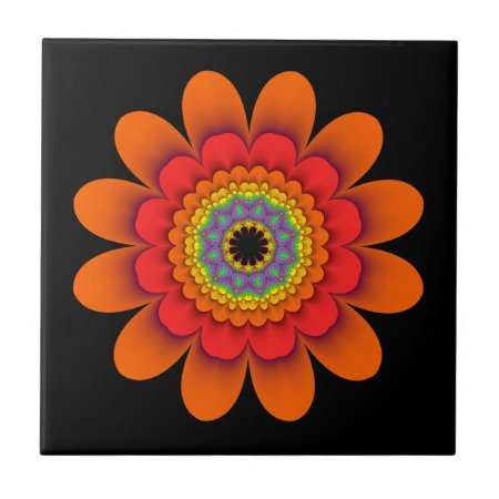 Fractal Orange Flower Power Ceramic Tile