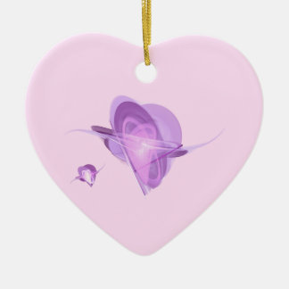 Fractal - Orbiting Hearts Double-Sided Heart Ceramic Christmas Ornament
