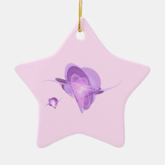 Fractal - Orbiting Hearts Double-Sided Star Ceramic Christmas Ornament