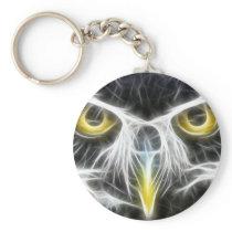 fractal owl design keychain