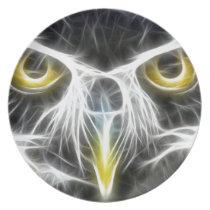 fractal owl design melamine plate