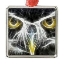 fractal owl design metal ornament