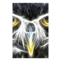 fractal owl design stationery