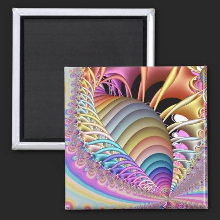 Fractal Pastel 2 Inch Square Magnet