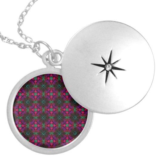 Fractal Pattern pink green purple red Locket Necklace