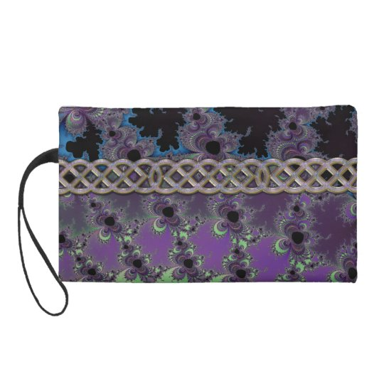 Fractal Pattern with Metallic Celtic Chain Purse