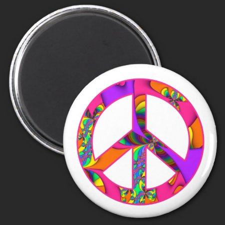 Fractal Peace Sign Color Me Bright Magnet