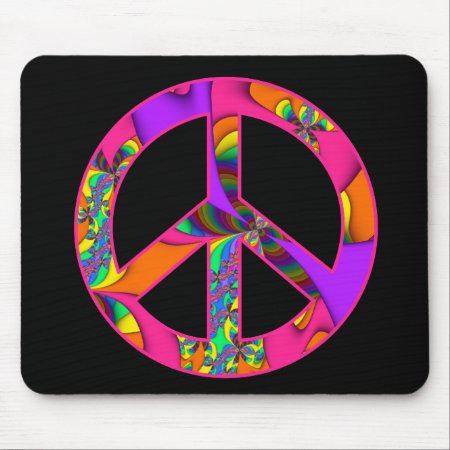 Fractal Peace Sign Color Me Bright Mousepad